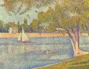 """С.Жорж, картина """"Сена"""", выполненная в технике дивизионизма"""